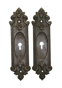 Pair of Antique French Cast Iron Keyhole Pocket Door Plates