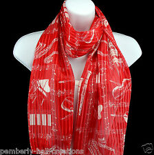 Musical Instruments Womens Scarf Music Scarfs Musician Gift Red Scarves New