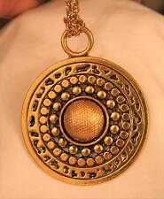 Large Domed Round Cross-Hatch Textured Shiny Bead Rimmed Heavy Goldtone Necklace