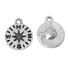 NEW 8 Pcs Autumn Trip Travel Compass Charms, Pendants, Trinkets Tibetan Silver