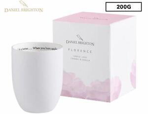 Daniel Brighton Caramel & Vanilla White Florence Candle 200g NEW FREE SHIPPING
