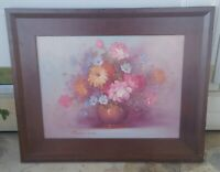Original Robert Cox Palette Knife Floral Still Life Oil Painting Canvas Framed