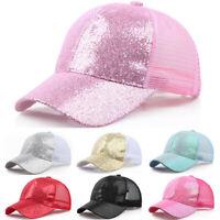 Women Girl Ponytail Baseball Cap Sequins Shiny Messy Bun Snapback Hat Sun Caps