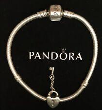 "Authentic PANDORA Sterling Silver 7"" Bracelet & Heart Lock Key CHARM 925 ALE"