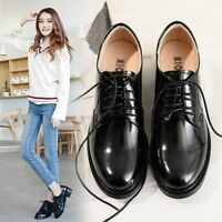 New Women's Brogue Patent Leather Flats Oxfords Lace Up Block Heels Round Shoes