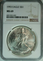 1993 Silver American Eagle Dollar / One Troy Ounce / NGC MS69