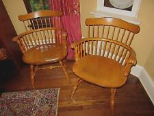 Set of 2 NICHOLS & STONE Rock Maple Governor Bradford Arm Chairs PICK UP ONLY
