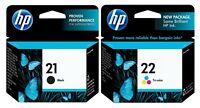 GENUINE HP 21 HP 22 Ink Cartridge 2 Pack for Deskjet 3910 Officejet J3635