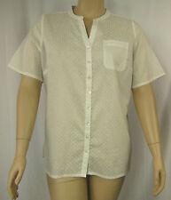 New BeMe Ivory Embosssed Short Sleeve Shirt Top Tunic Plus Size 16 BNWOT # O50