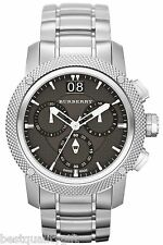 BURBERRY ENDURANCE SILVER TONE+BLACK,GRAY CHRONO,KNURLED SWISS WATCH BU9800+BOX