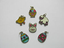 36 Enamel EASTER CHARMS bunnies ducks easter BASKET easter EGGS sheep FREE SHIP