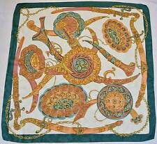 """ITALY-VINTAGE EQUESTRIAN PERSIAN WEAPONS GREEN PINK SILK 35""""SQUARE SCARF"""