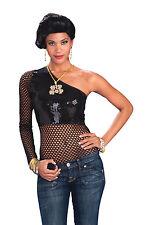 Femme noires maille sequin top Costume Robe Fantaisie Punk Rocker Gothique Costume