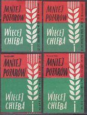 POLAND 1963 Matchbox Label - Cat.Z#403b.I/II+IV/V, Less fires - more bread.