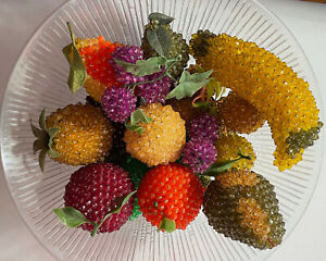 Vintage Push Pin Beaded Fruit Assortment Mixed Lot Faux Artificial