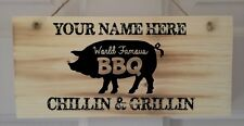 Personalised Wooden BBQ Sign Plaque, Gift, Varnish Coated. Chillin & Grillin