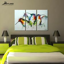 "Animal Canvas Wall Art Framed Oil Painting Hand Painted ""Colorful Birds""—ARTLAND"