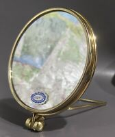 Vintage Irving W. Rice West Two Sided Magnifier Vanity Mirror Gold Tone Foldable