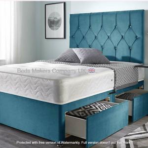 """4 & 4ft6"""" Rich Plush Velvet Divan Bed Set with Mattress & Storage ✅BESTONLINE"""
