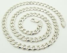 SOLID 925 STERLING SILVER CURB LINK NECKLACE/NECK CHAIN - 59CM