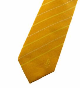 Beijing 2008 Olympics Men's Necktie Yellow Gold Striped Tie Collectible EUC