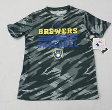 MLB Milwaukee Brewers Boys Camo Climate Short Sleeve T-Shirt SZ 8