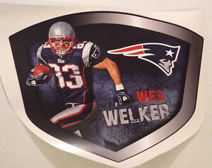 """Wes Welker FATHEAD Player Shield Graphic 19"""" x 15"""" NFL Wall Decal PATRIOTS"""