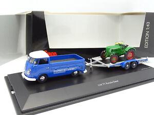 Schuco 1/43 - VW Combi T1 Pick Up + Remorque Tracteur Porsche Diesel