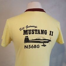 VTG 70s Soft Thin Ringer T Shirt ~ Mustang II ~ Experimental Airplane ~ Small