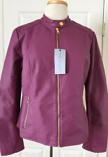 NWT Womens Andrew Marc New York Faux Leather Racer Full Zip Biker Jacket Berry L