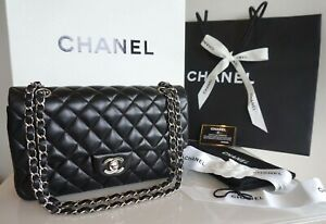 100% Auth. Chanel Classic Medium Black Lambskin Double Flap Bag With Silver THW