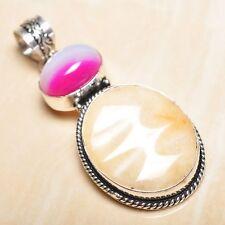 "Handmade Calcite Jasper Gemstone 925 Sterling Silver Pendant 2.5"" #P15806"
