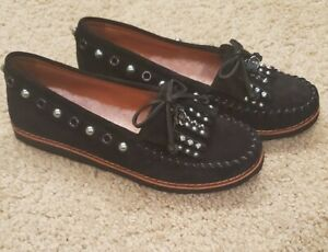 Coach Women's Black Suede Roccasin Studded Moccasins Fur Liner Size 7B G1210