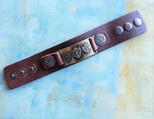 Men's Ancient Roman Protection Shield with Skulls Leather Fashion Bracelet