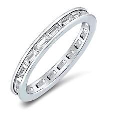 .48 CW CZ Channel Set Baguette Cut Stackable Eternity Wedding Ring Band Size 10