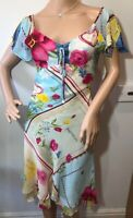 Rene Derhy summer gypsy style Spanish dress size S 10 peasant country blue
