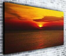 Red Sun on Horizon Wall Décor Panoramic Canvas Wall Art Print Framed XXL 55 inch