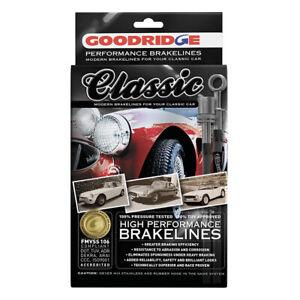 Goodridge Classic Vintage Black Braided Brake Hose Kit Triumph TR4A I.R.S. 1965>