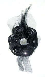 BLACK Gothic feather lace and gem FANCY DRESS CHARLESTON hair clip