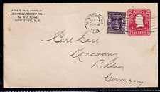 1904 New York to Konstanz, Germany - Scott 302 on U385 Stamped Envelope