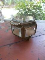 antique JEWELRY CASKET BOX beveled glass footed japan american cut crystal