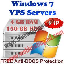 Windows 7 VPS (Virtual Dedicated Server) 4GB RAM + 150GB HDD + DDOS