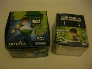 TOPPS BOX OF TRADING STICKERS BEN 10 PLUS BOX BEN 10 TATTOOS (GREEN)