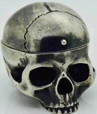 Rare antique Georgian Memento Mori silvered human Skull shaped ring box