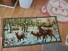 Vintage Deer buck In A Field forest 38 By 19 In Tapestry Excellent Rare