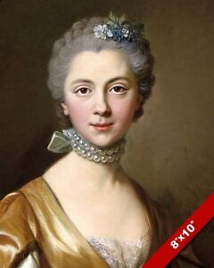 BEAUTIFUL WOMAN PEARL NECKLACE 18TH CENTURY PORTRAIT PAINTING ART CANVAS PRINT