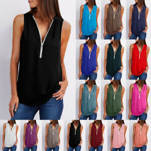 Women Zipper Sleeveless Vest Top Blouse Ladies Summer Loose T Shirts Top