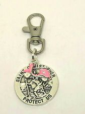 St Christopher of travellers & scooter, vespa Lambretta keyring, Moped gift