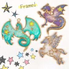 3Pc Horse Dragon Frame Pendant Bezel Setting Cabochon Setting UV Resin Jewelry