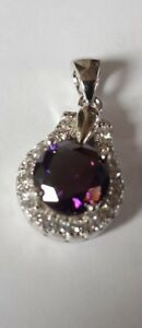 AMETHYST & White Topaz 925 Solid Genuine Sterling Silver Pendant Jewelry